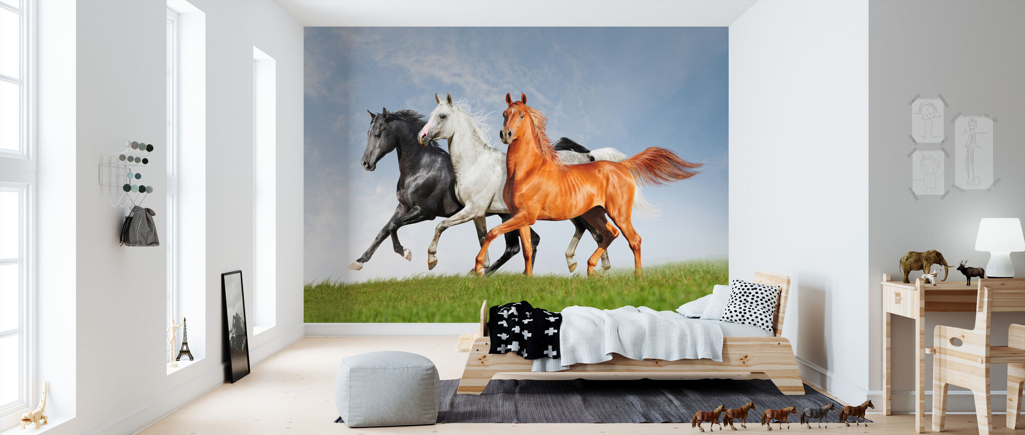 Arab Horses Run Free - Wallpaper - Kids Room