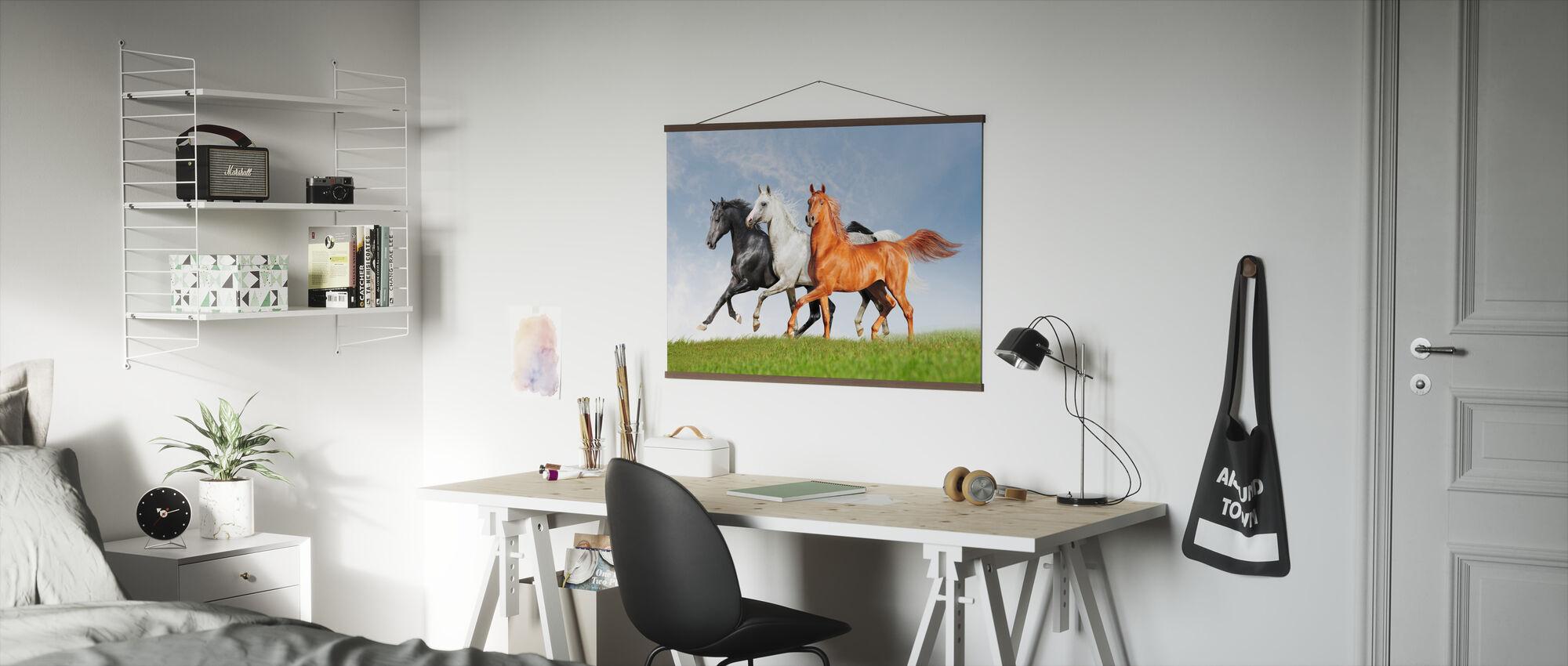 Arabskie konie biegną za darmo - Plakat - Biuro