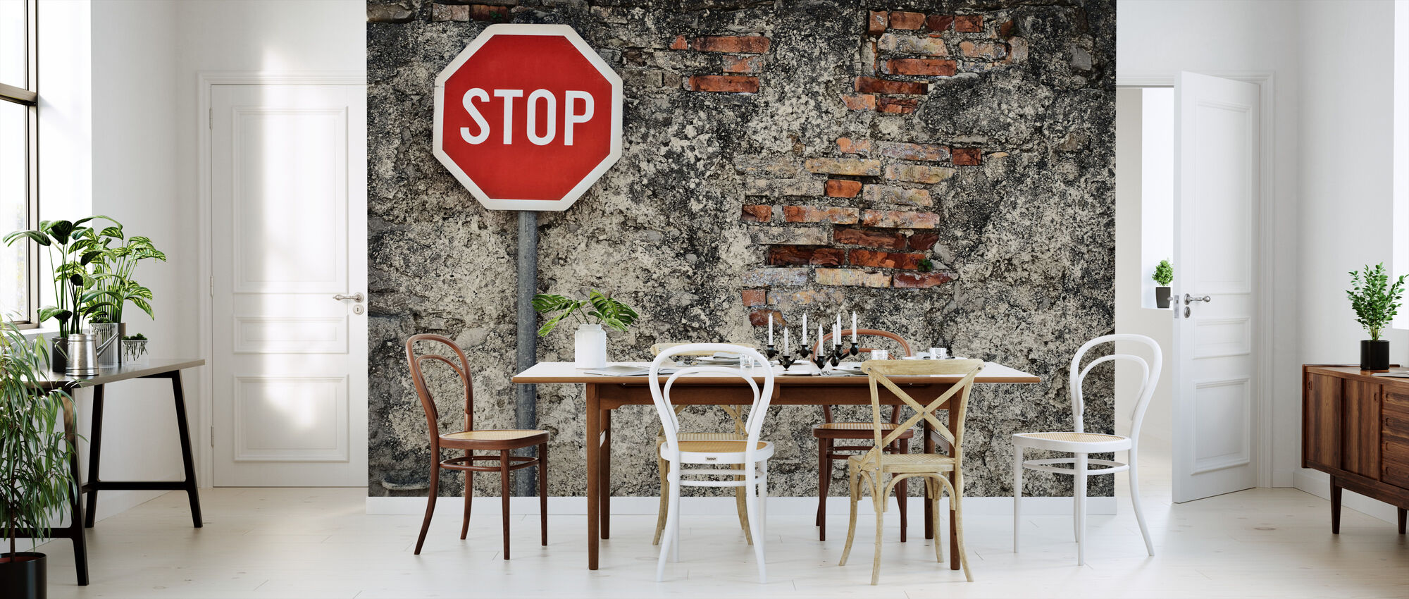 Stop Sign Against Grungy Wall - Wallpaper - Kitchen
