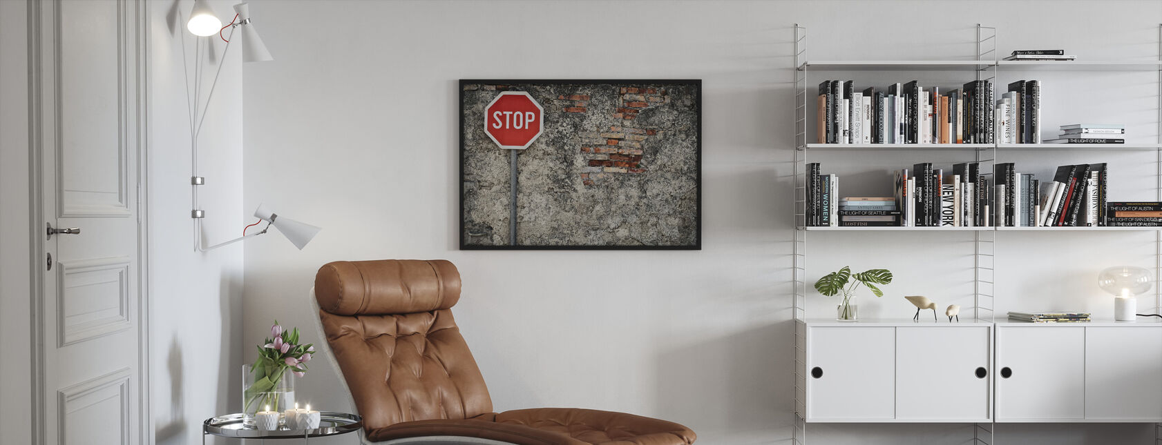 Stop Sign Against Grungy Wall - Framed print - Living Room