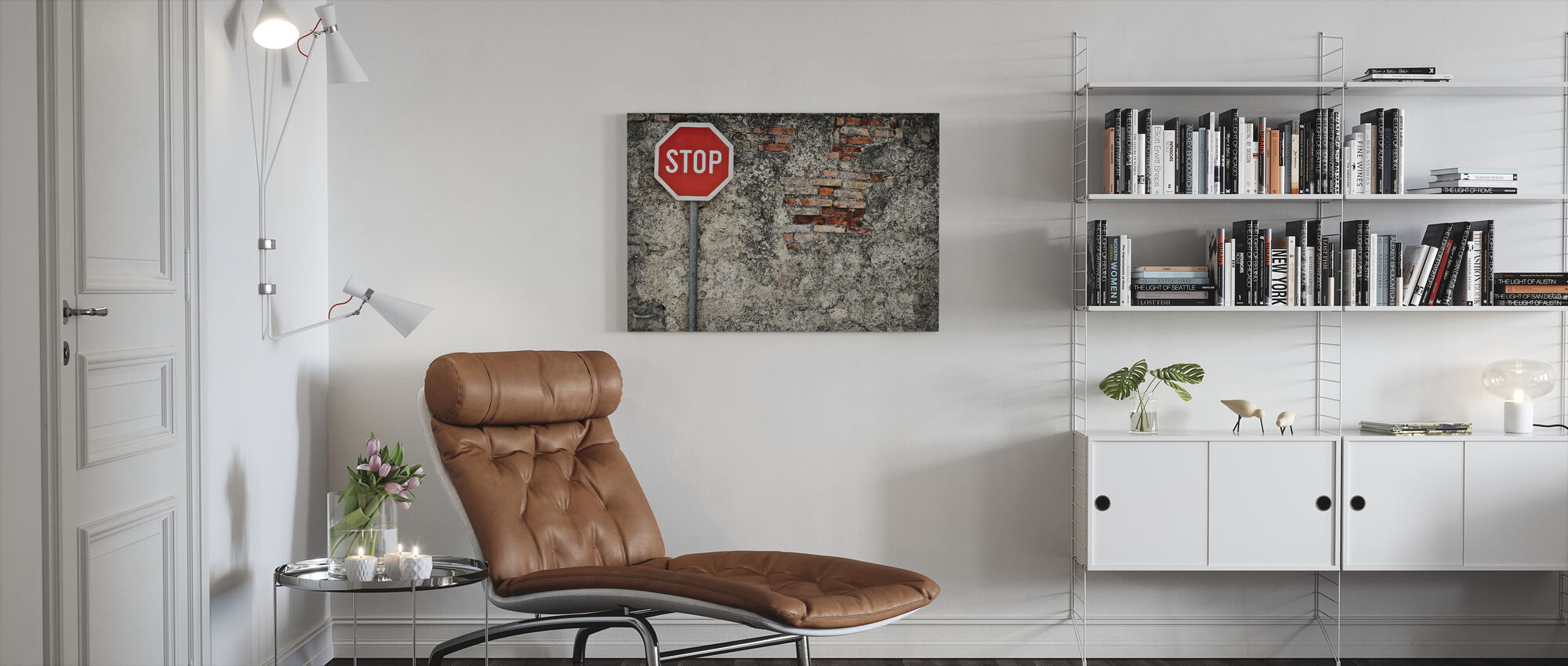 Stop Sign Against Grungy Wall - Canvas print - Living Room