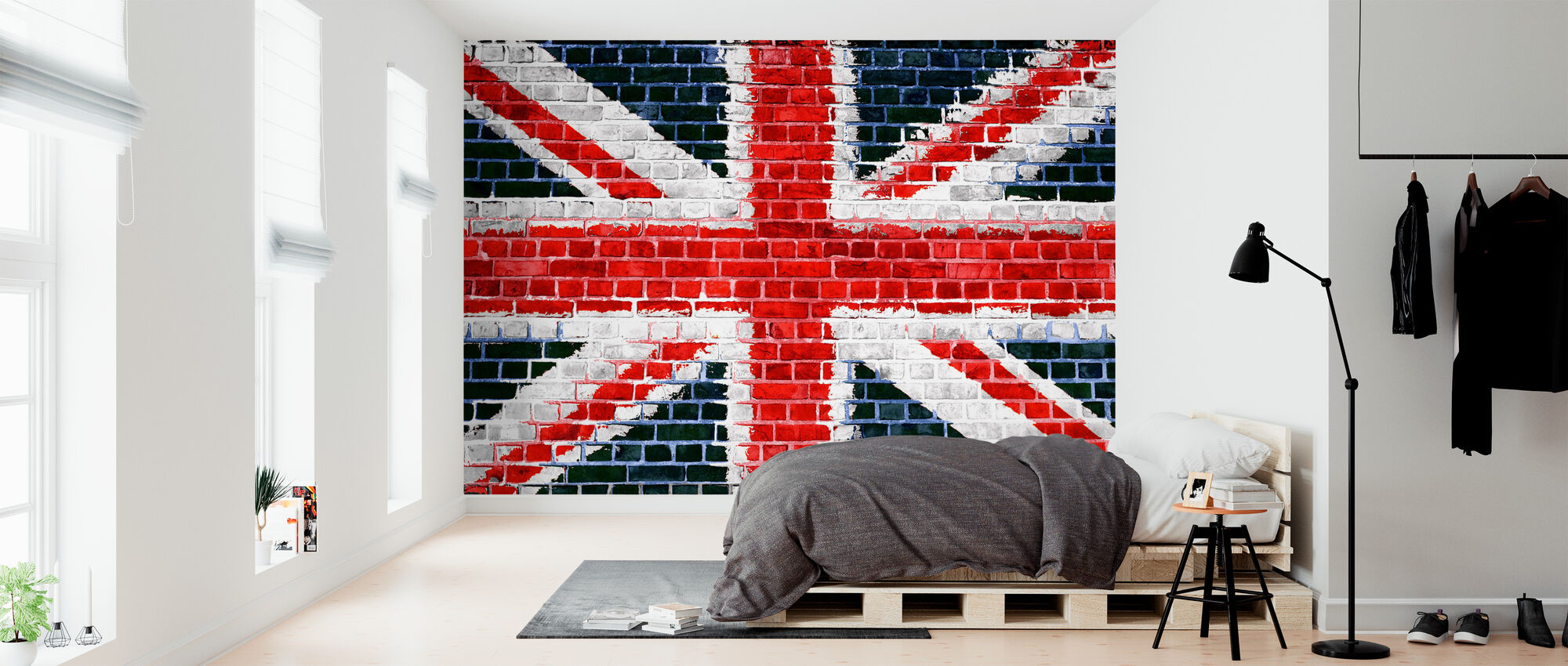 Union Jack Brick Wall - Wallpaper - Bedroom