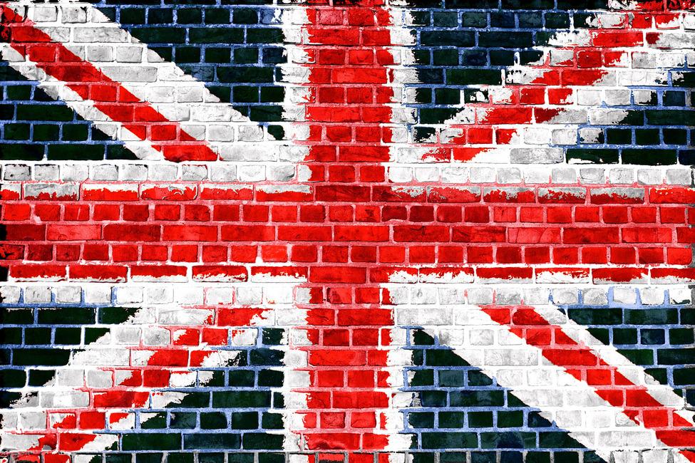 Union Jack Brick Wall Fototapeter & Tapeter 100 x 100 cm