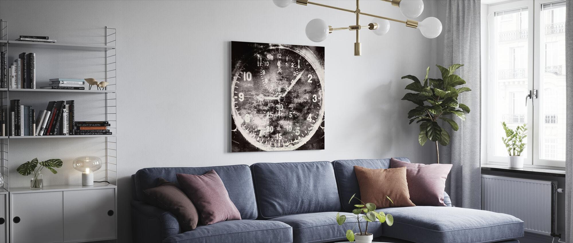 Vintage Airplane Clock - Canvas print - Living Room