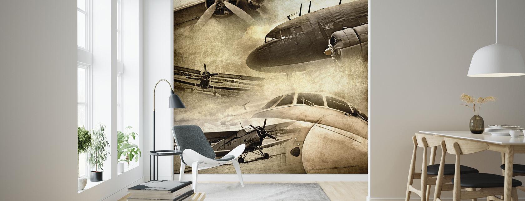 Retro Airplanes - Wallpaper - Living Room