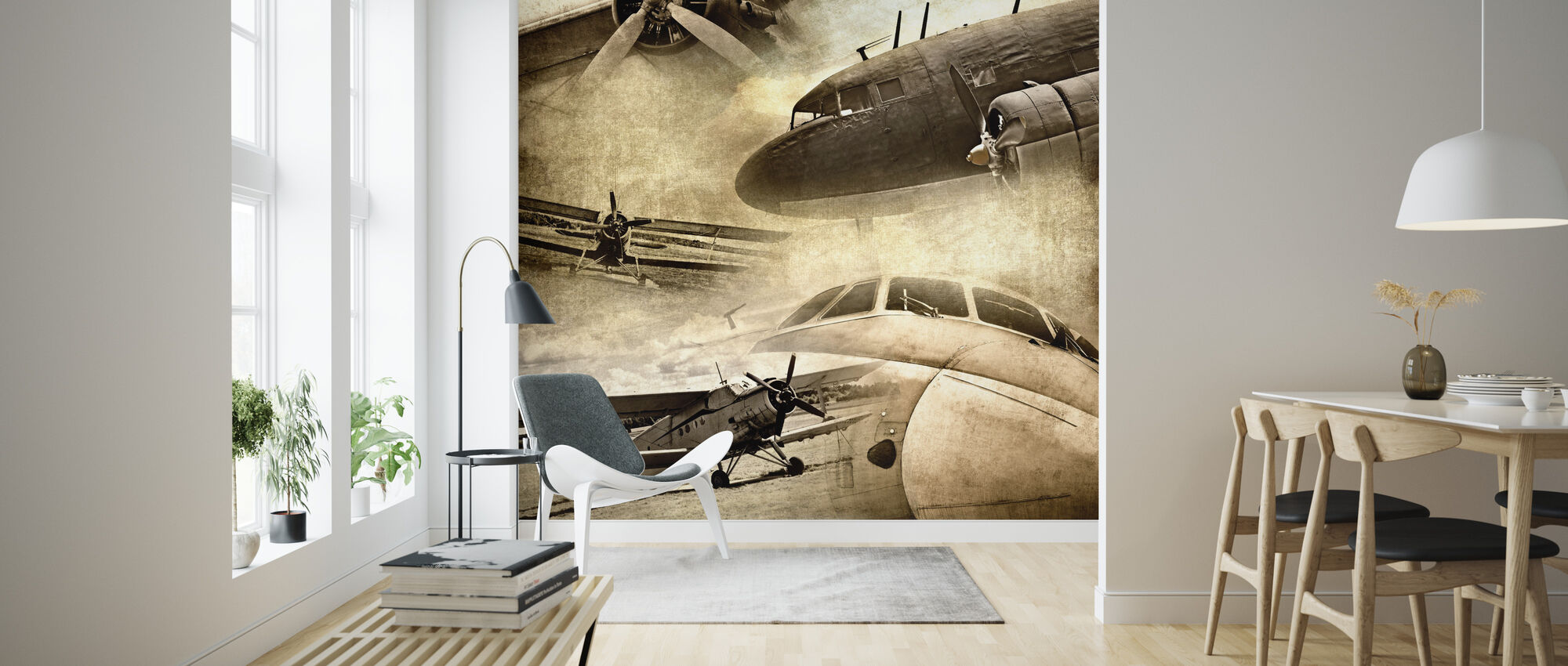 Retro Airplanes - Wallpaper - Living Room