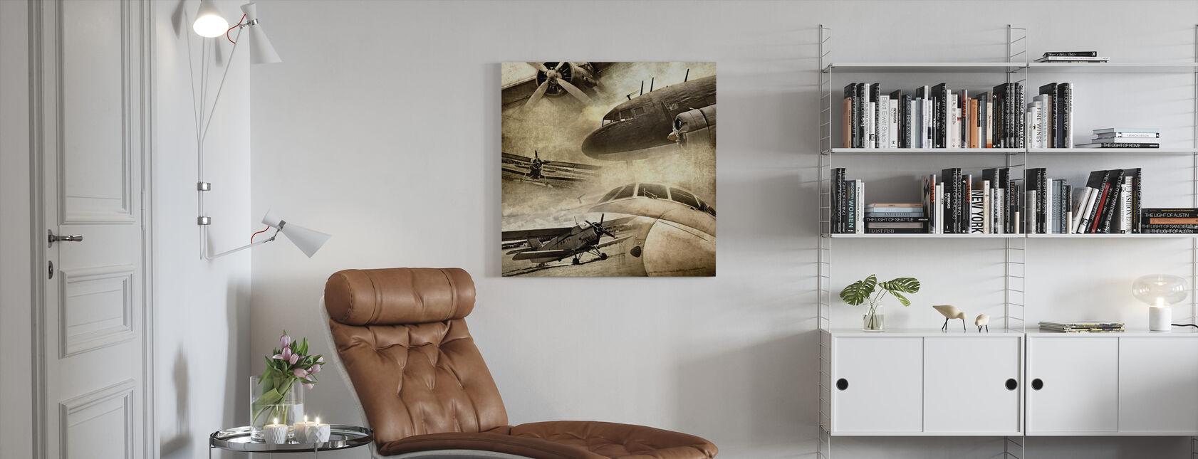 Retro Flugzeuge - Leinwandbild - Wohnzimmer