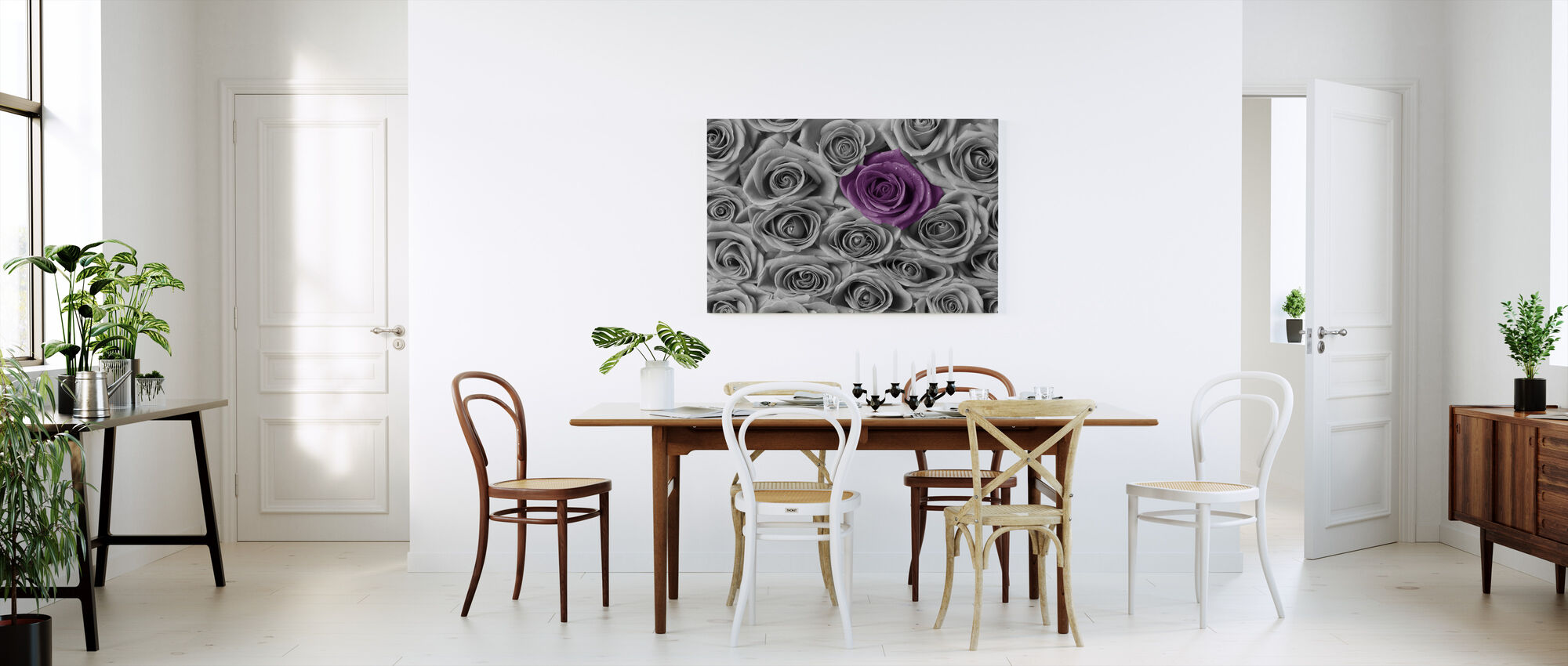 Roses - Purple and Grey - Canvas print - Kitchen