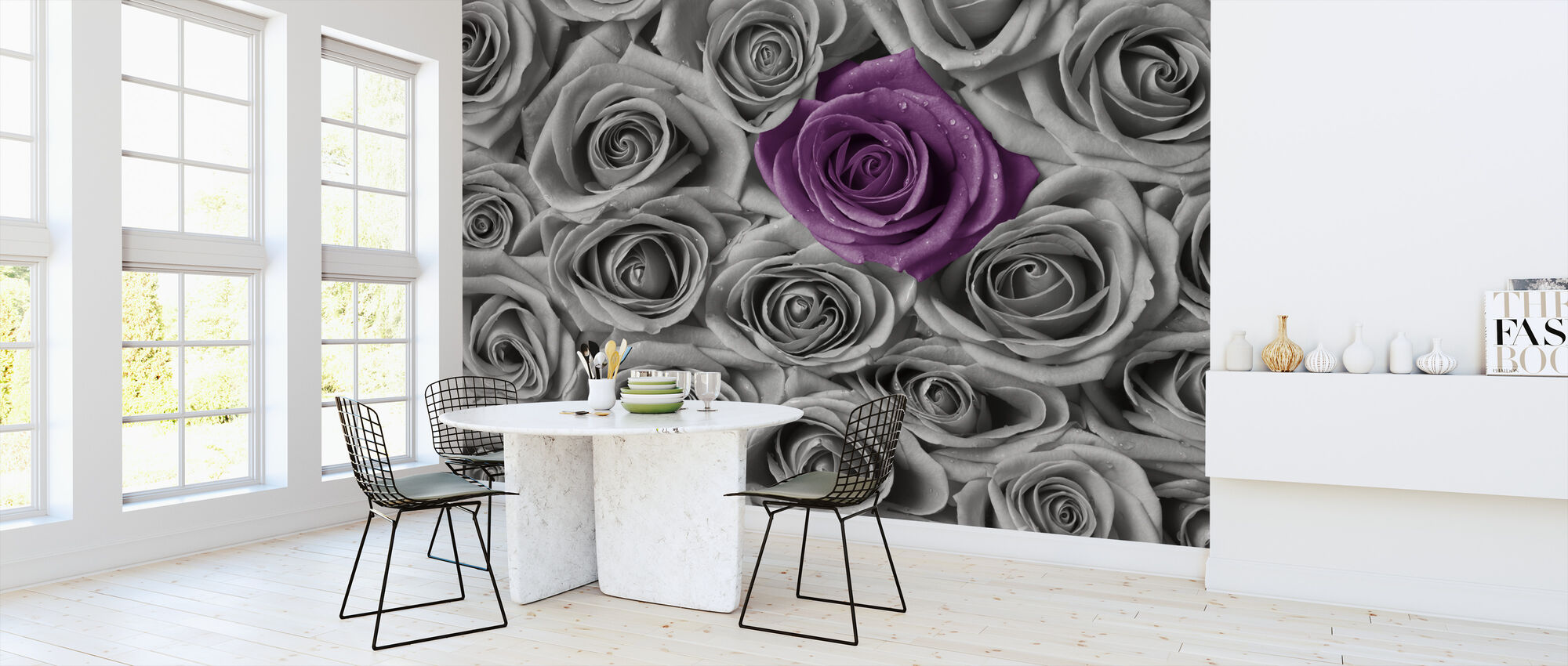 Roses - Purple and Grey - Wallpaper - Kitchen