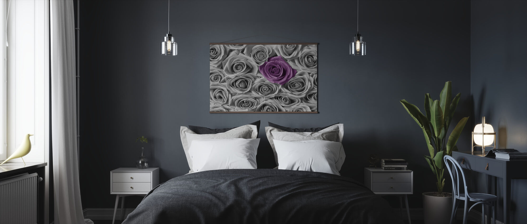 Roses - Purple and Grey - Poster - Bedroom