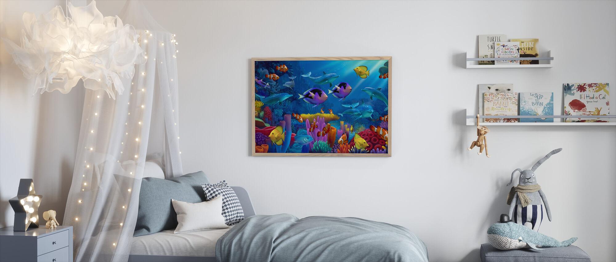 Värin valtameri - Kehystetty kuva - Lastenhuone