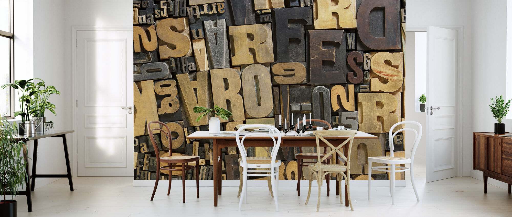 Vintage Wooden Letters - Wallpaper - Kitchen
