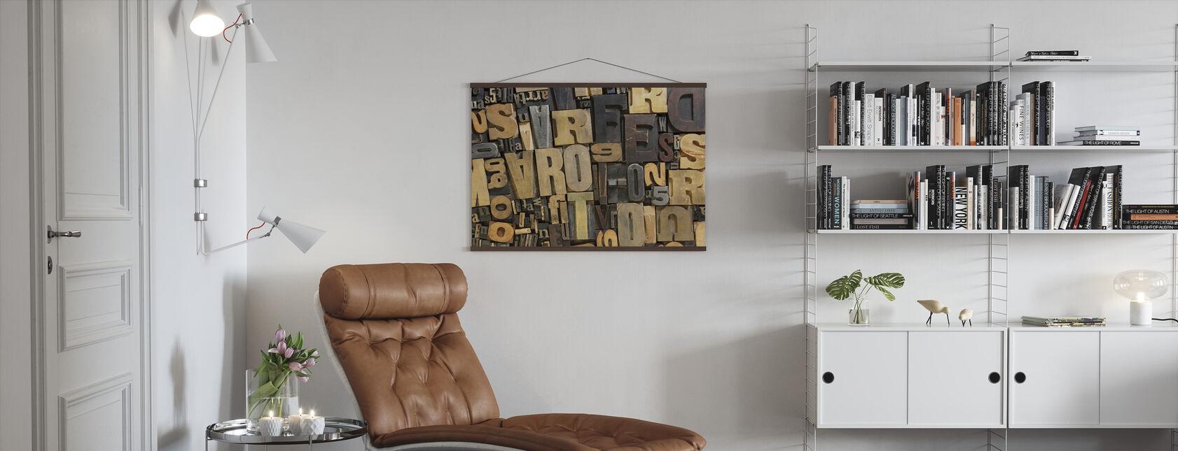 Lettres en bois vintage - Affiche - Salle à manger