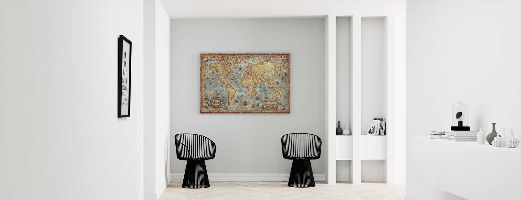 Modern World Antique Map - Canvas print - Hallway