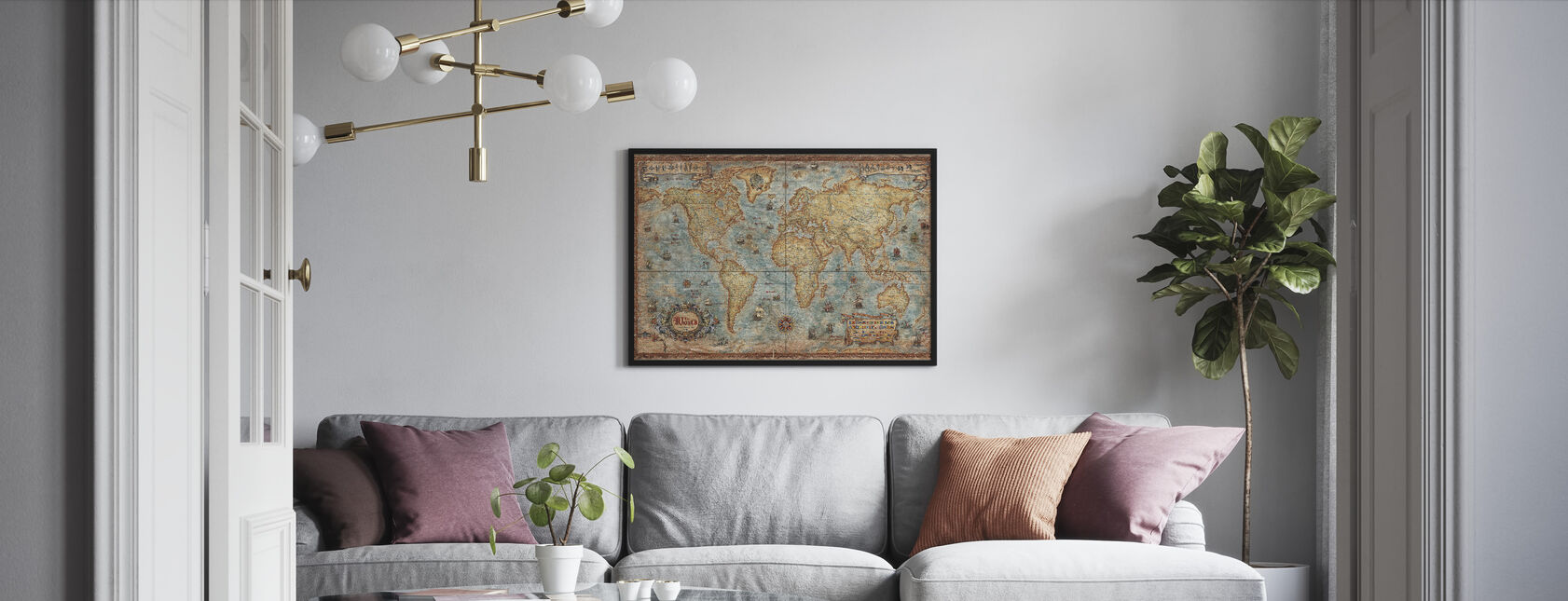 Moderni maailma Antiikki Kartta - Kehystetty kuva - Olohuone