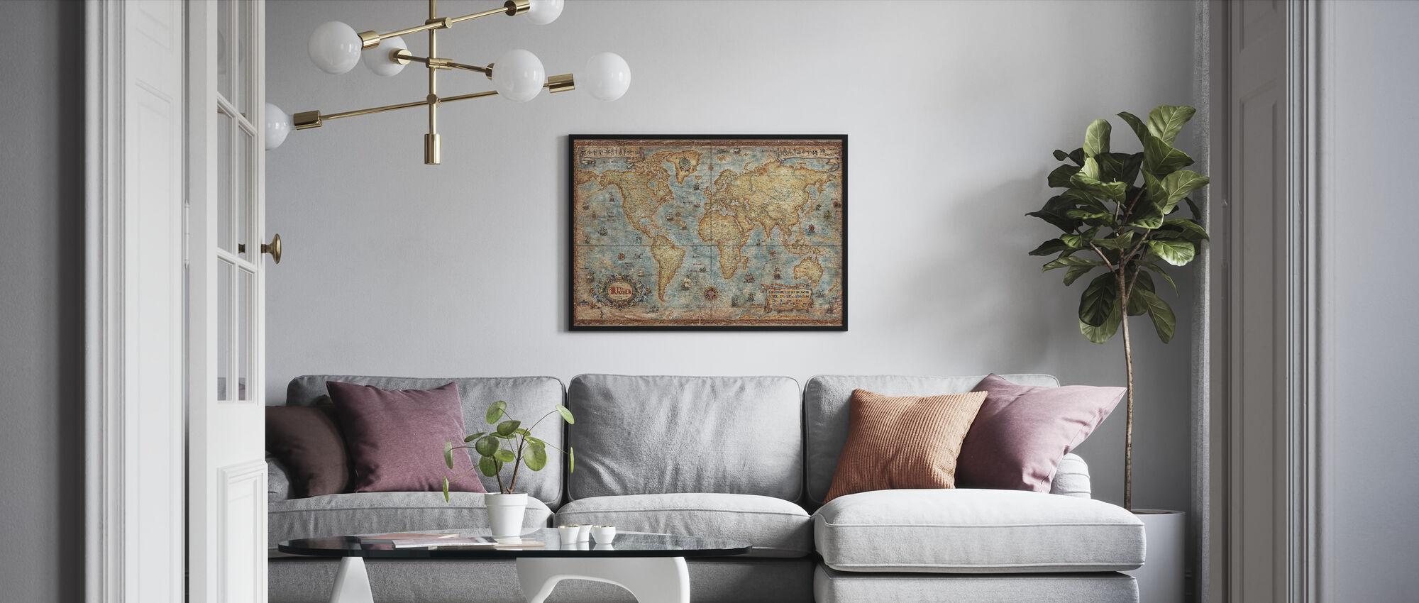 Modern World Antique Map - Framed print - Living Room
