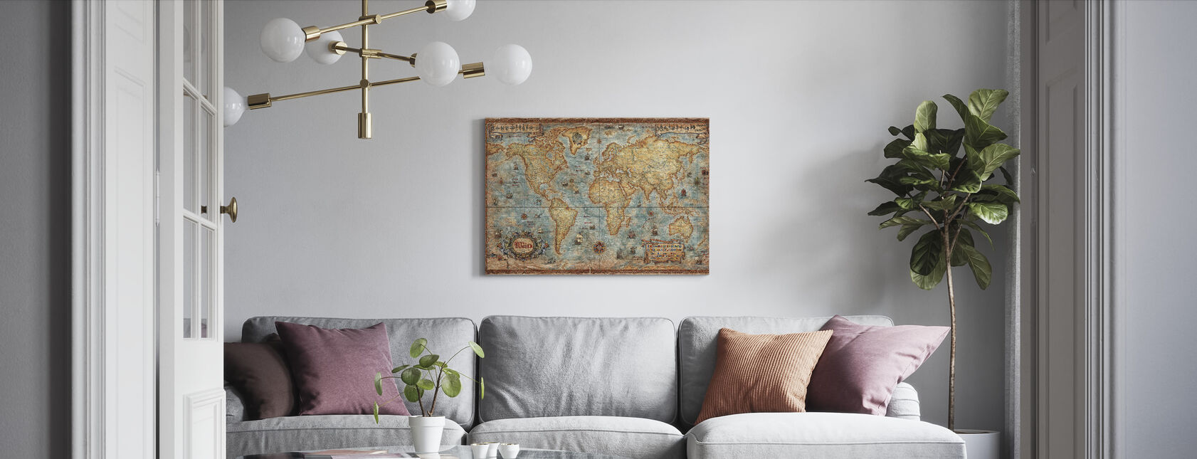 Modern World Antique Map - Canvas print - Living Room