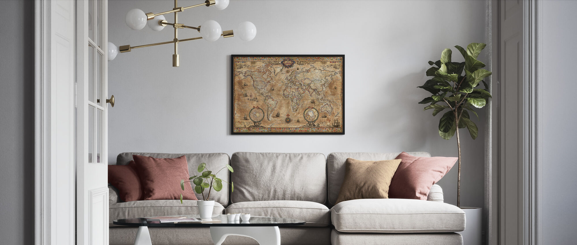 Pergament Map - Framed print - Living Room