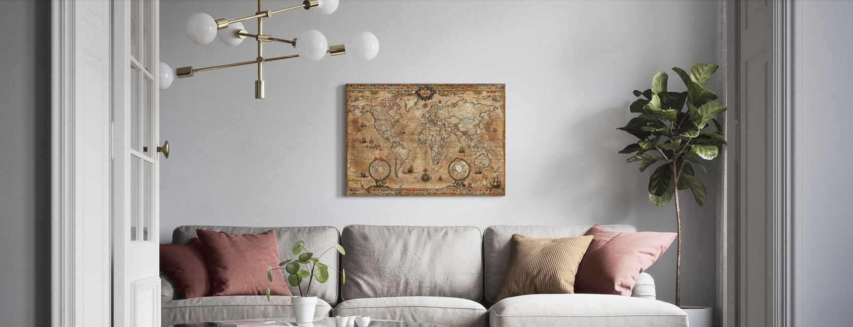Pergament Map - Canvas print - Living Room