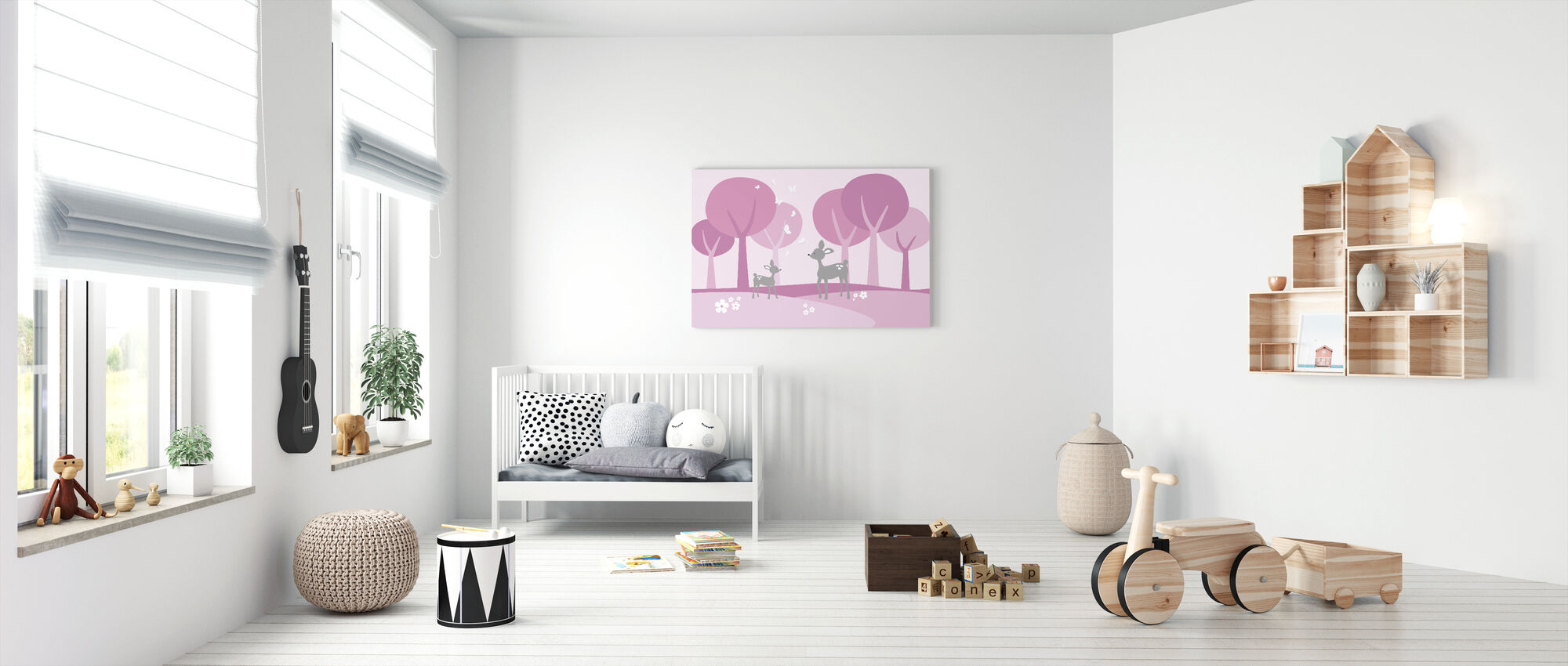 Deer in Woods - Pink - Canvas print - Nursery