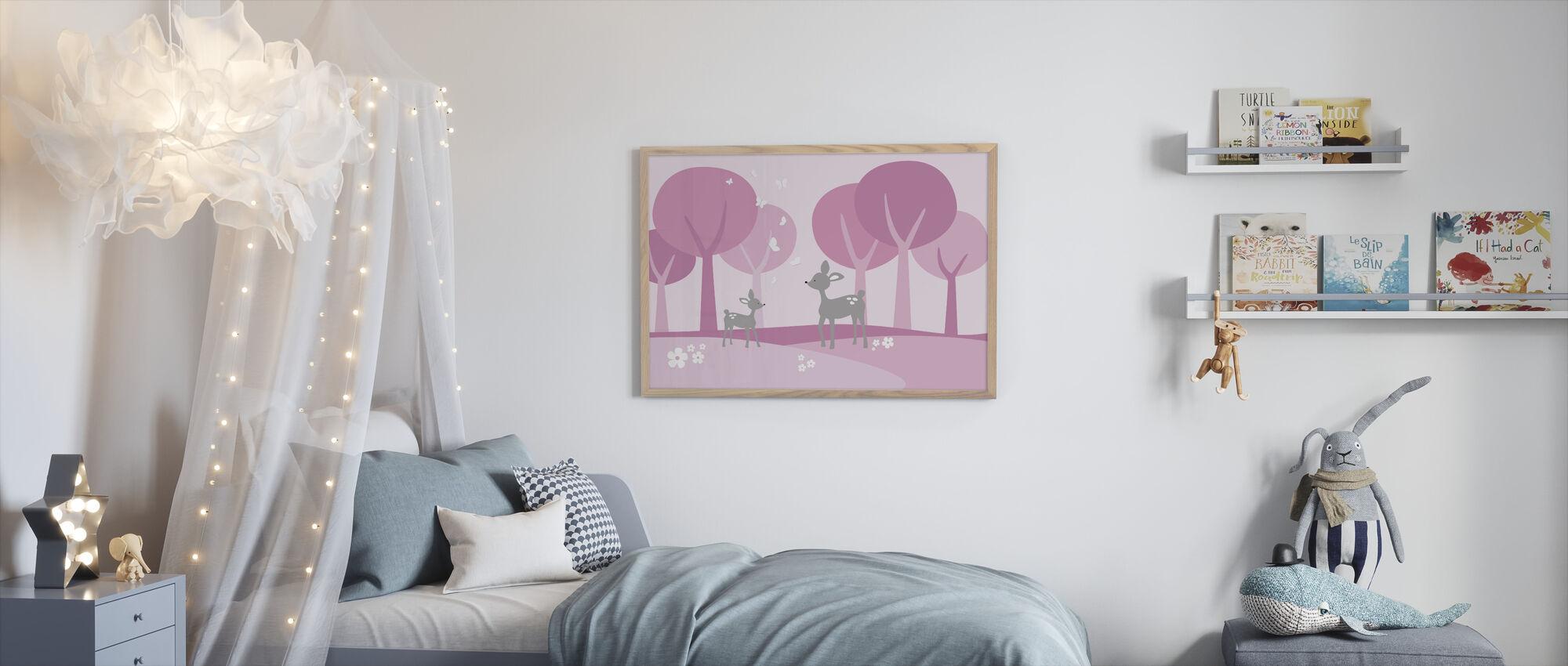 Deer in Woods - Pink - Framed print - Kids Room