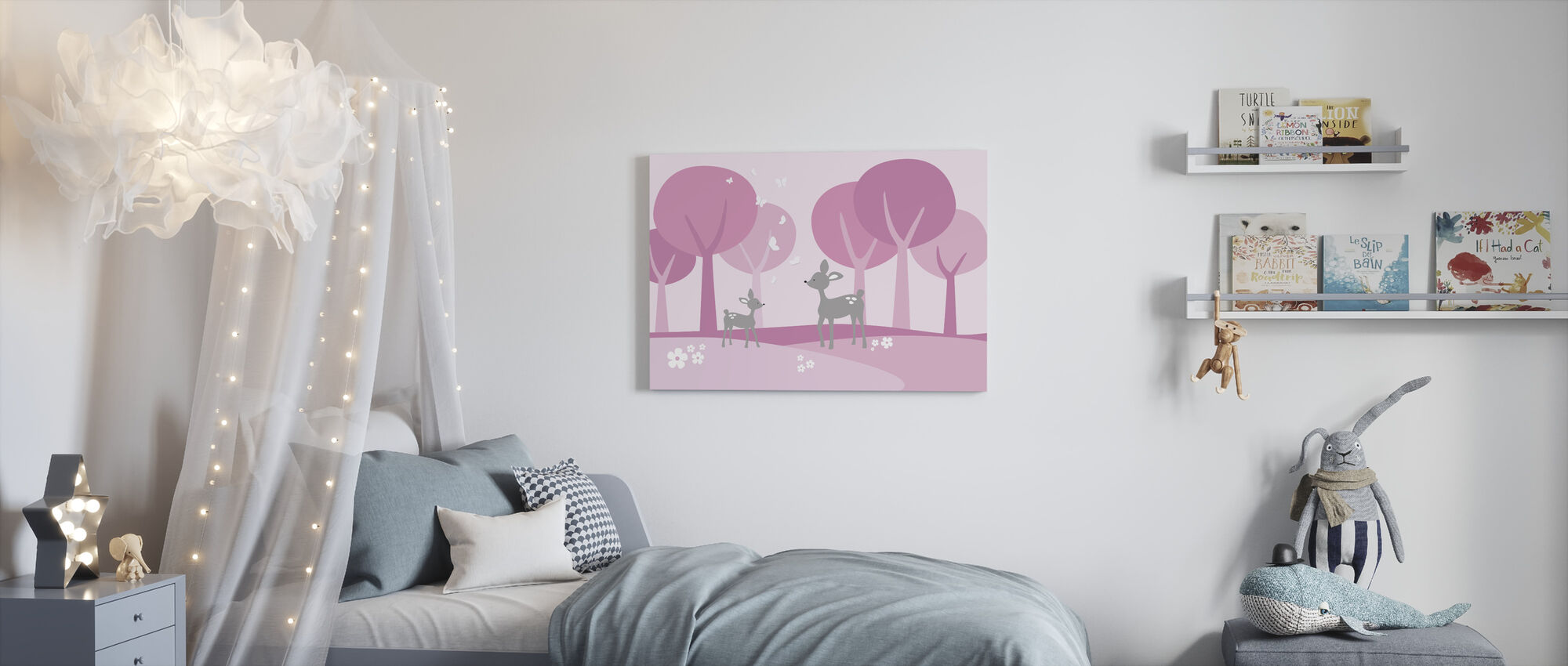 Deer in Woods - Pink - Canvas print - Kids Room