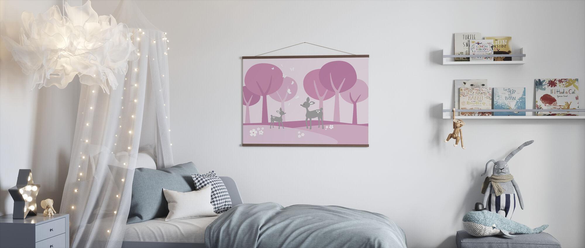 Hjort i skogen - rosa - Poster - Barnrum