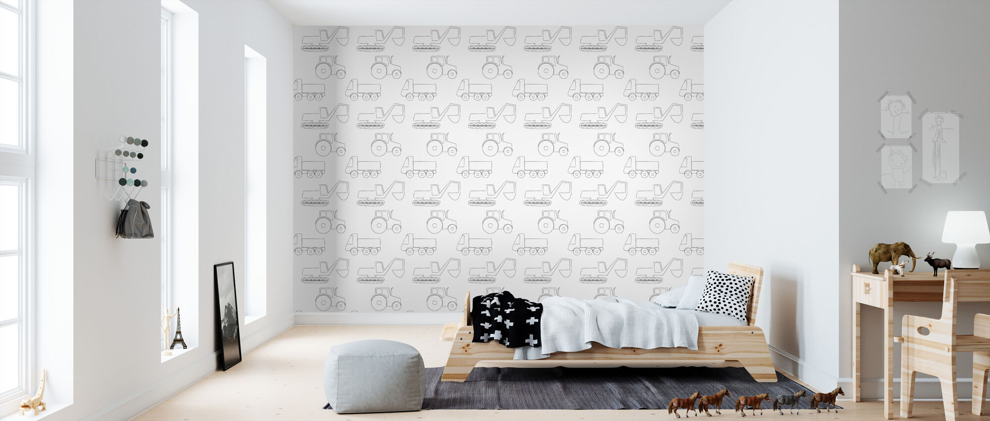 Large Vehicles - Black - Wallpaper - Kids Room