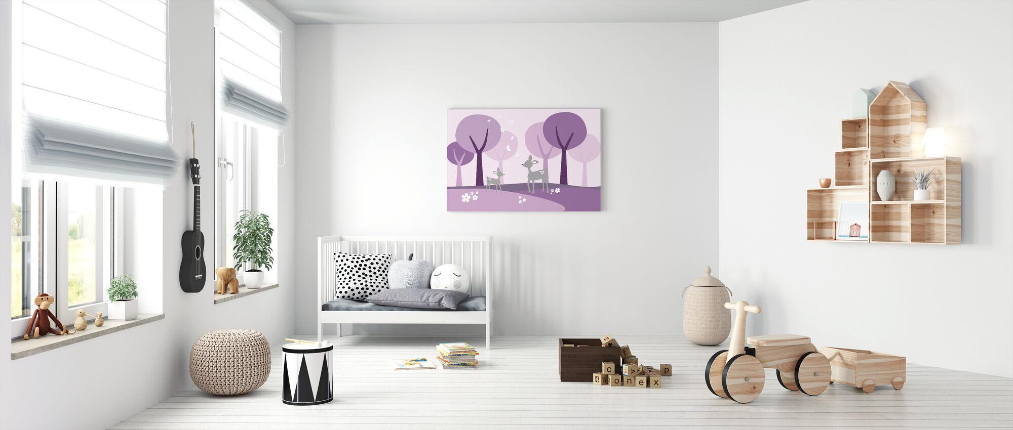 Deer in Woods - Purple - Canvas print - Nursery