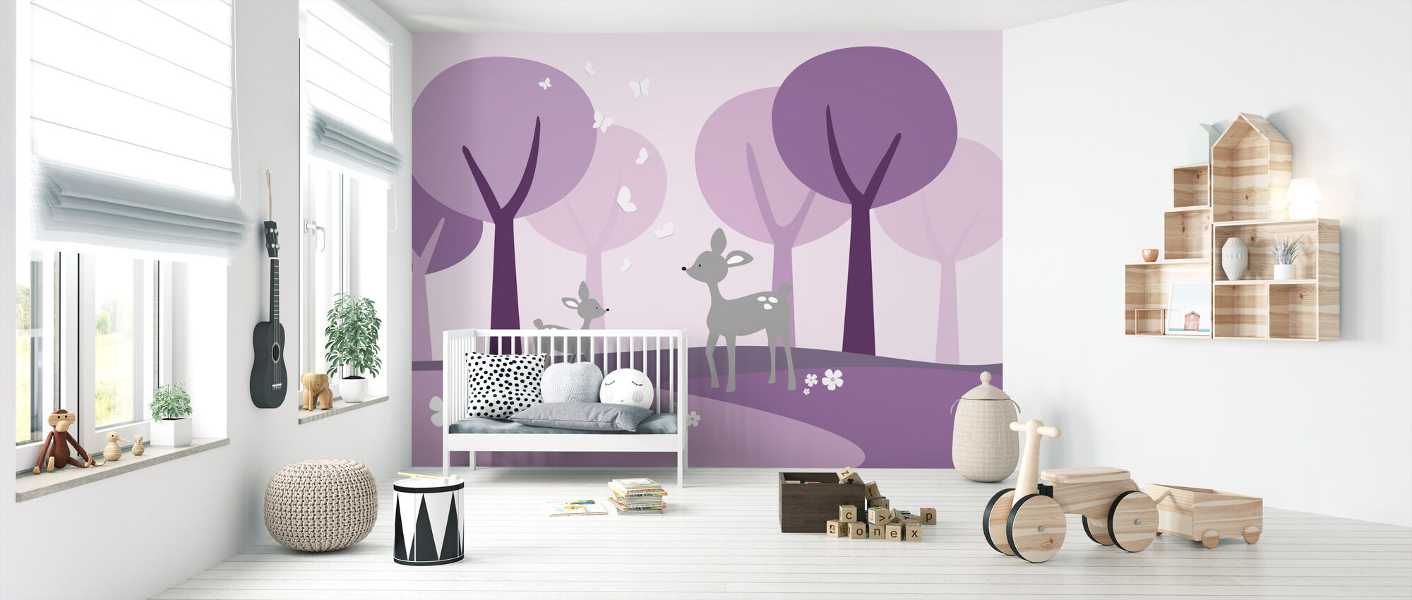 Deer in Woods - Purple - Wallpaper - Nursery