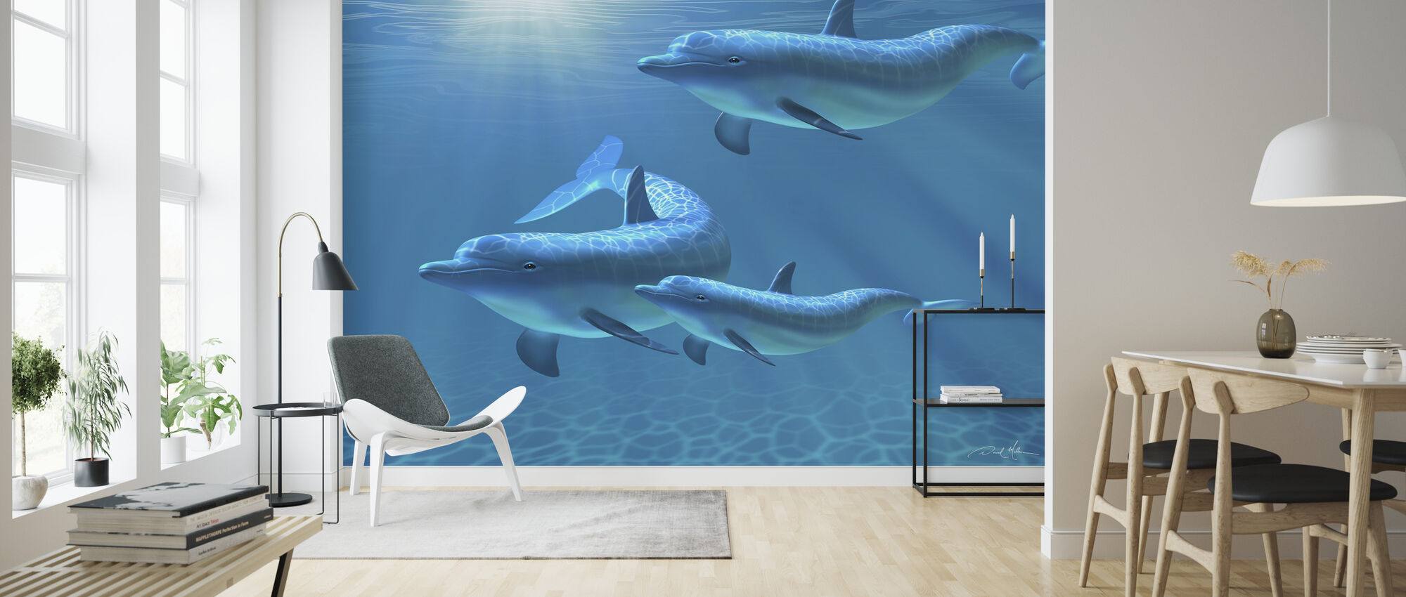 Dolphin Family of Three - Wallpaper - Living Room