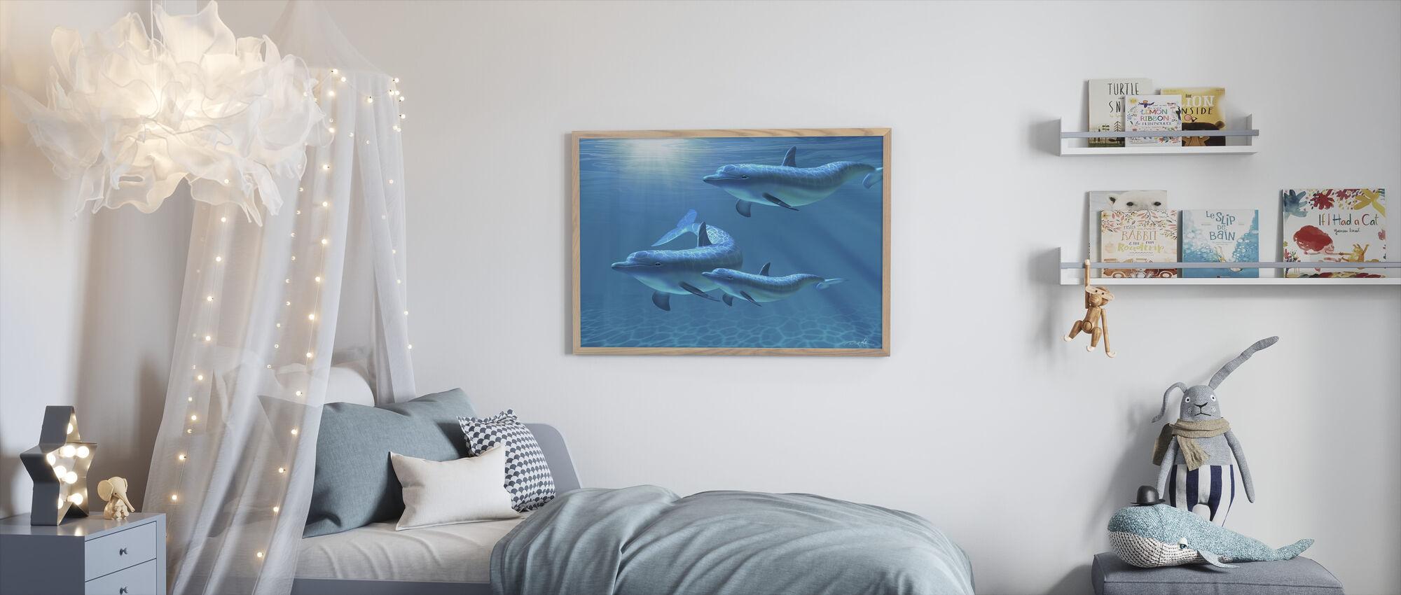 Kolmen delfiinin perhe - Kehystetty kuva - Lastenhuone