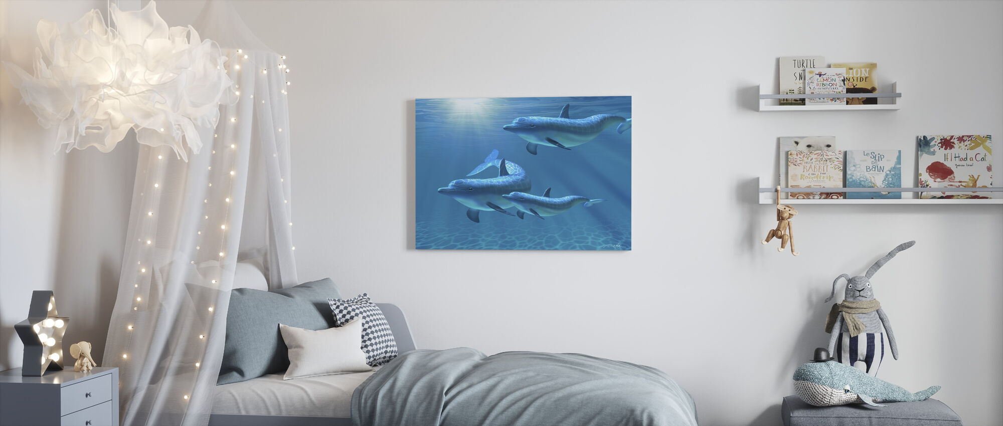 Dolphin Family of Three - Canvas print - Kids Room