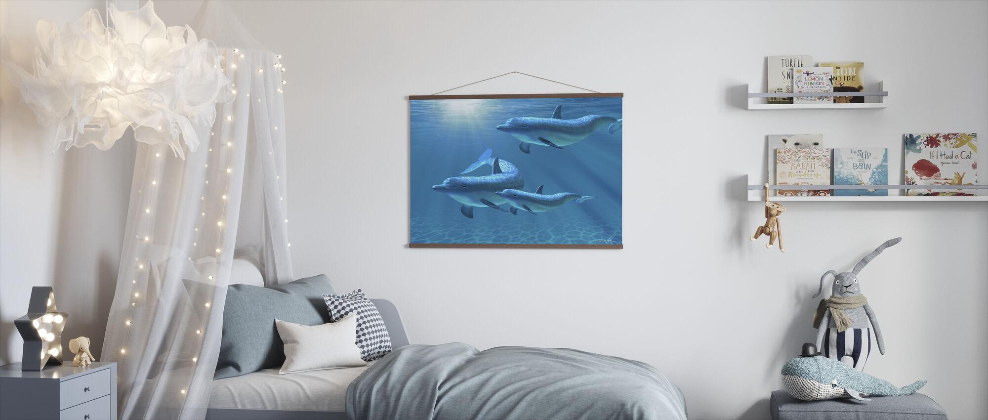 Delfin familie af tre - Plakat - Børneværelse