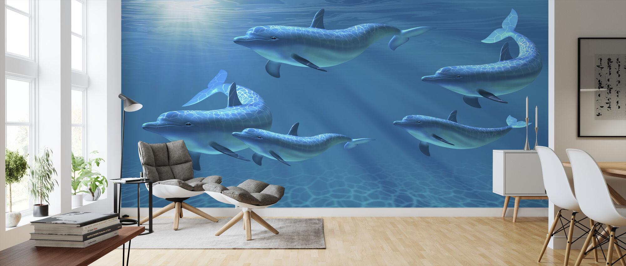 Delphin-Familie der Fünf - Tapete - Wohnzimmer