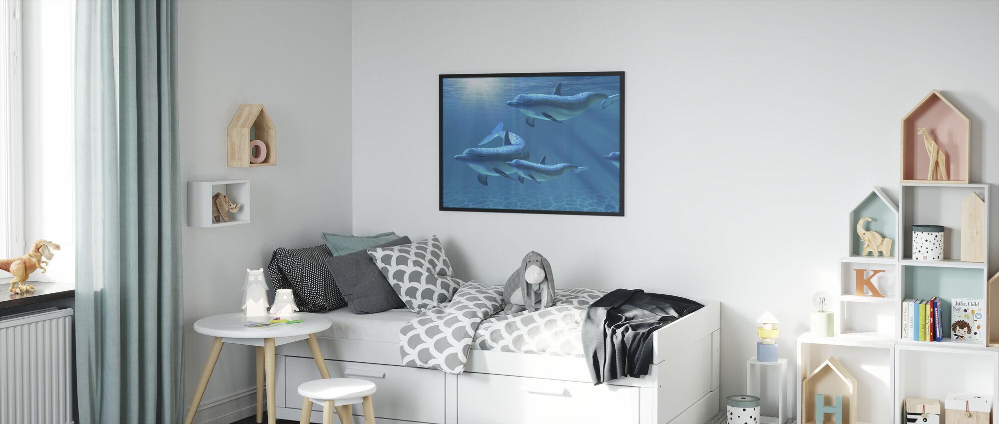 Delfiini Perhe Viiden - Kehystetty kuva - Lastenhuone