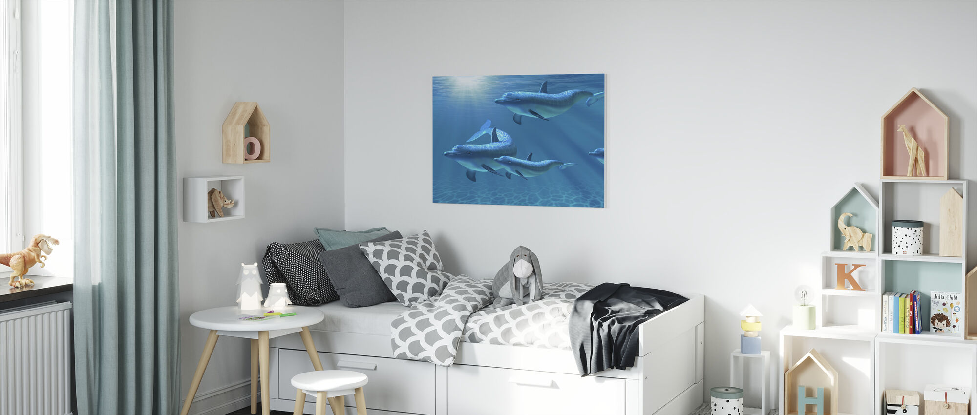 Dolphin Family of Five - Canvas print - Kids Room