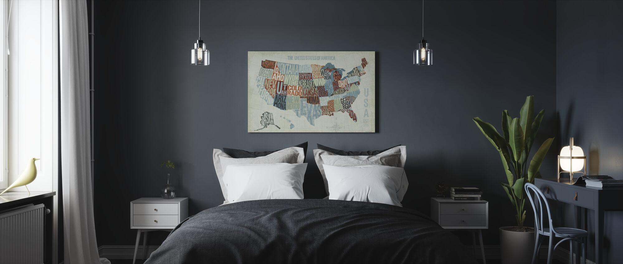 Yhdysvallat Modern Blue - Canvastaulu - Makuuhuone