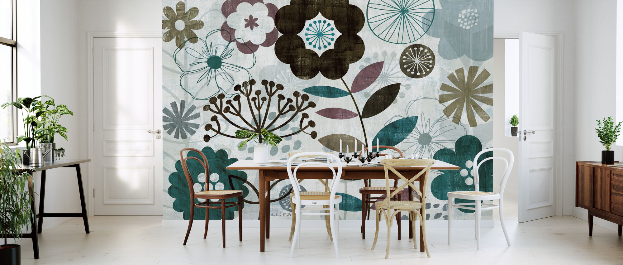 Floral Pop Turquoise - Wallpaper - Kitchen