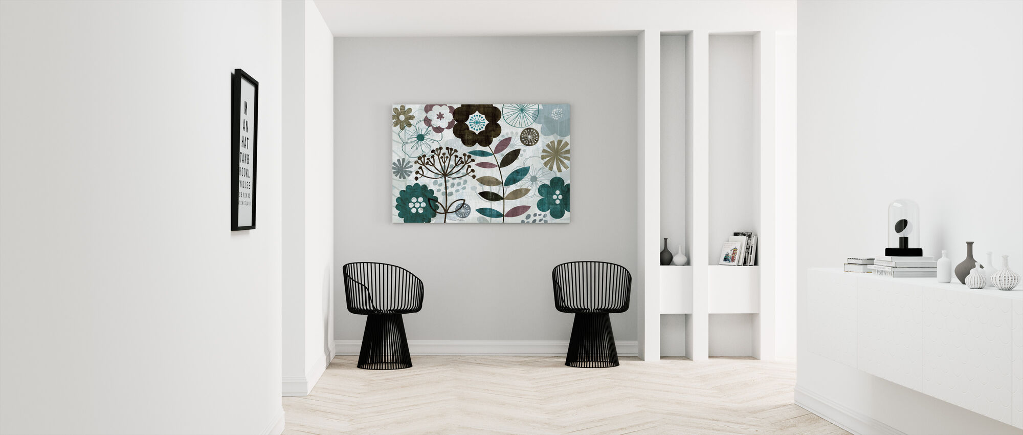 Floral Pop Turquoise - Canvas print - Hallway