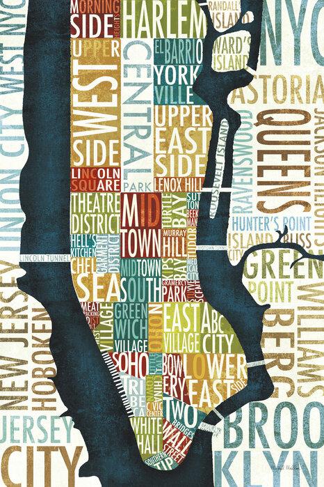 Manhattan Map Trendy Fototapet Photowall