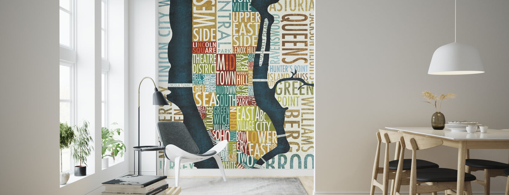 Manhattan Map - Wallpaper - Living Room