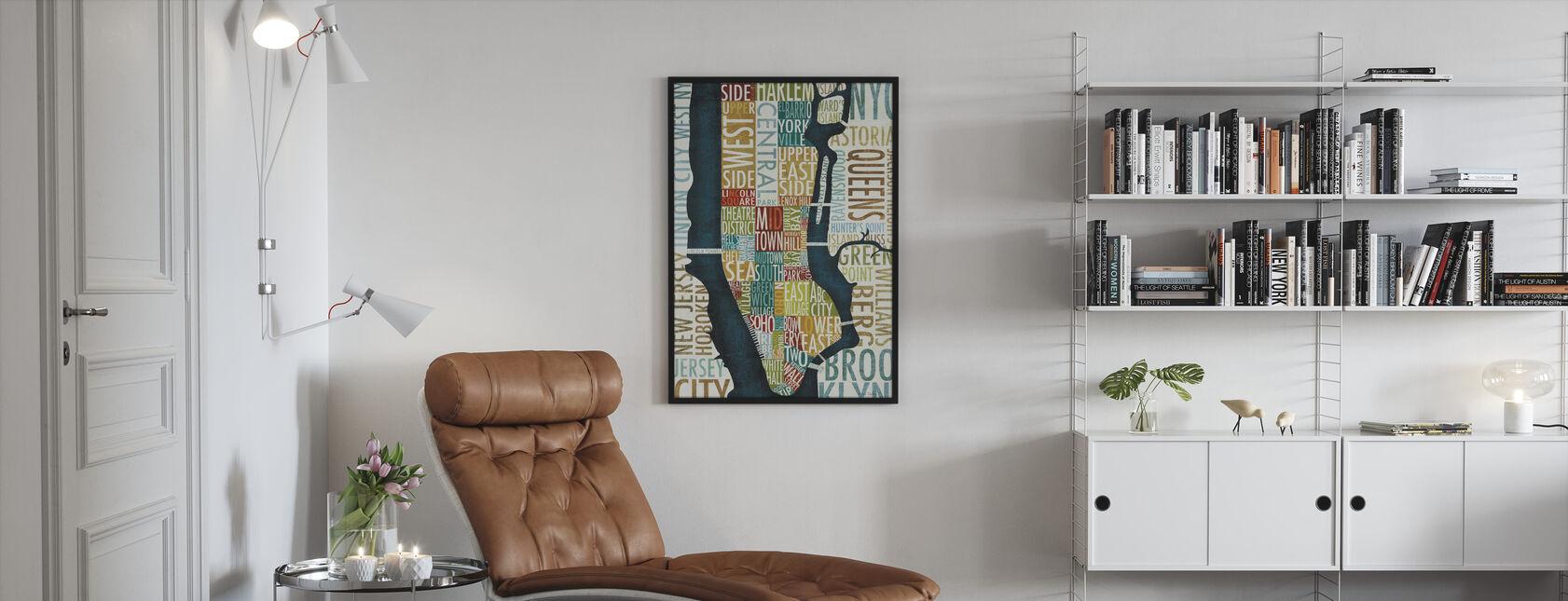 Manhattan Kartta - Kehystetty kuva - Olohuone