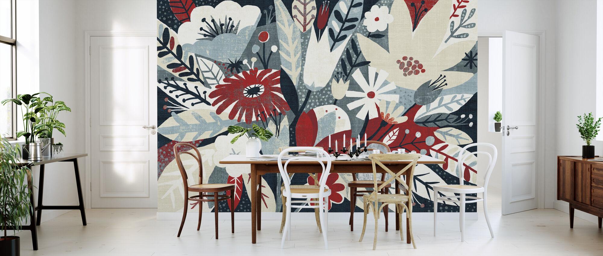 Vintage Bouquet Red - Wallpaper - Kitchen