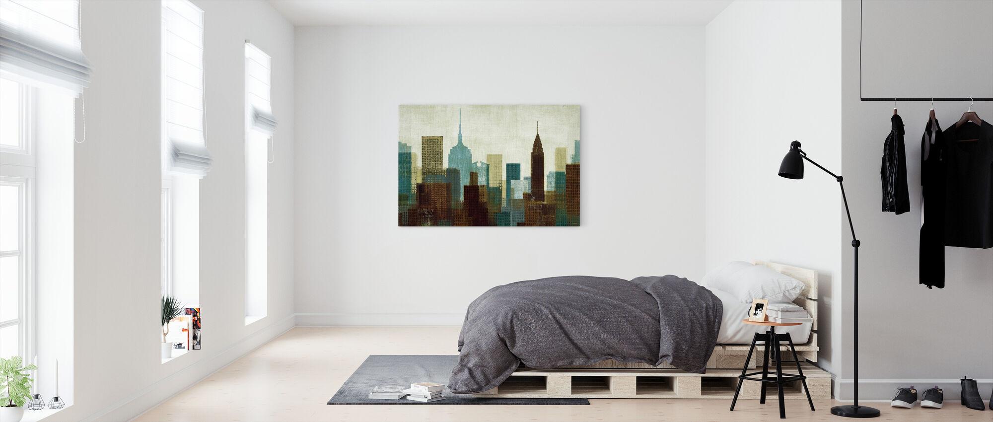 Zomer in de Stad I Blauw - Canvas print - Slaapkamer