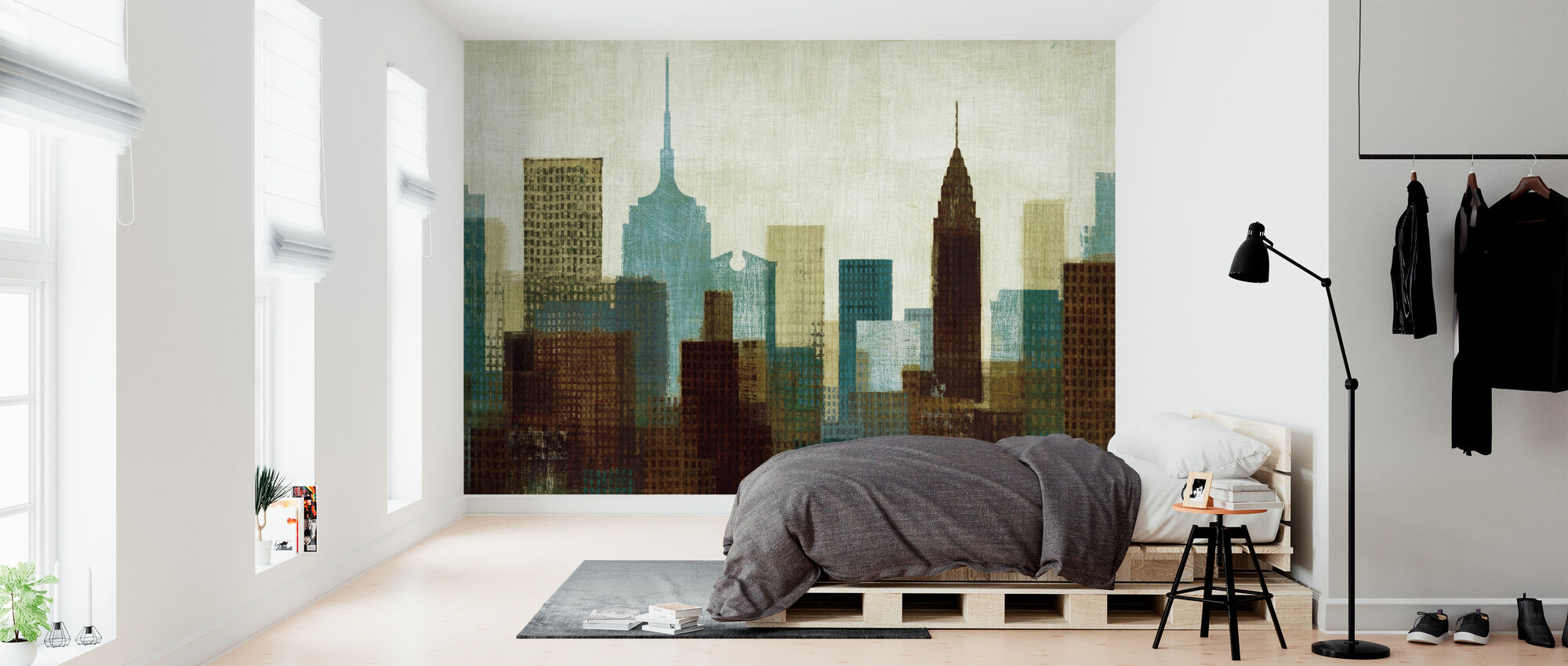 Summer in the City I Blue - Wallpaper - Bedroom