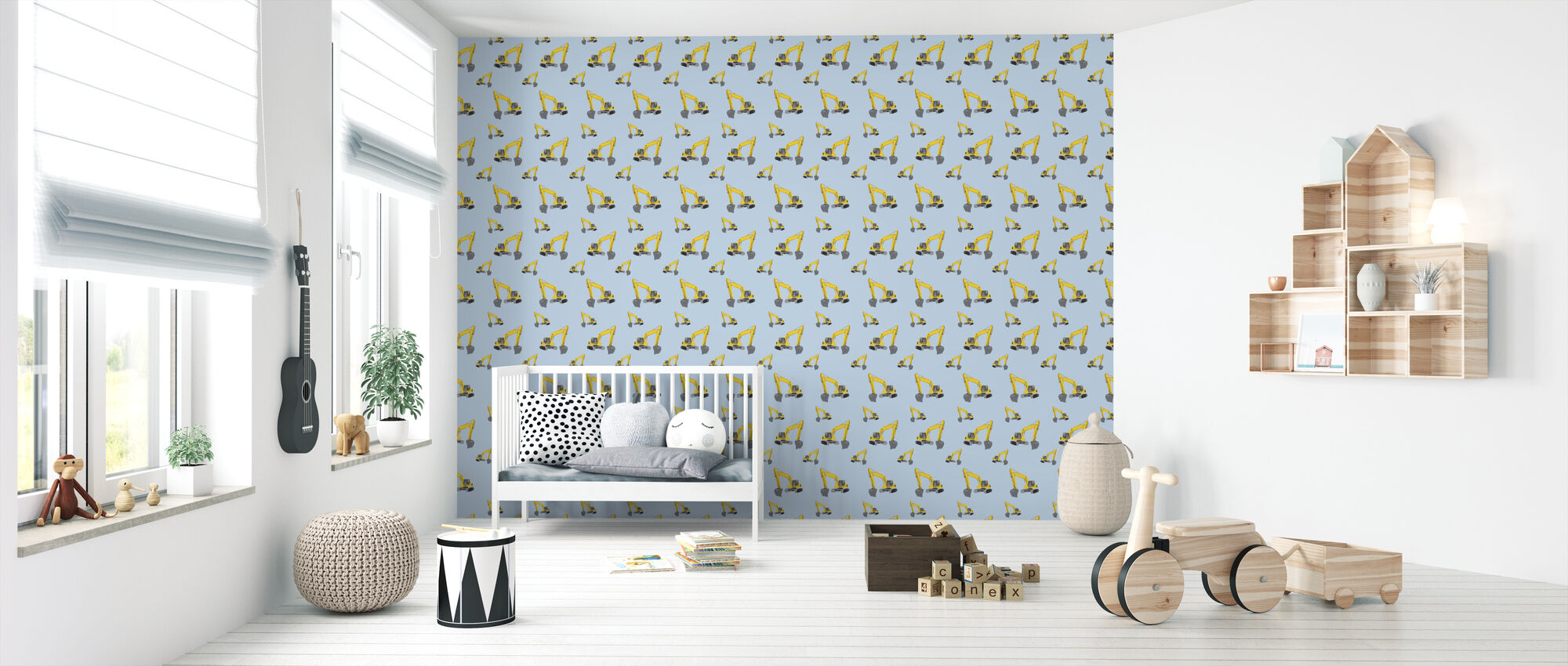 Excavators Blue - Wallpaper - Nursery