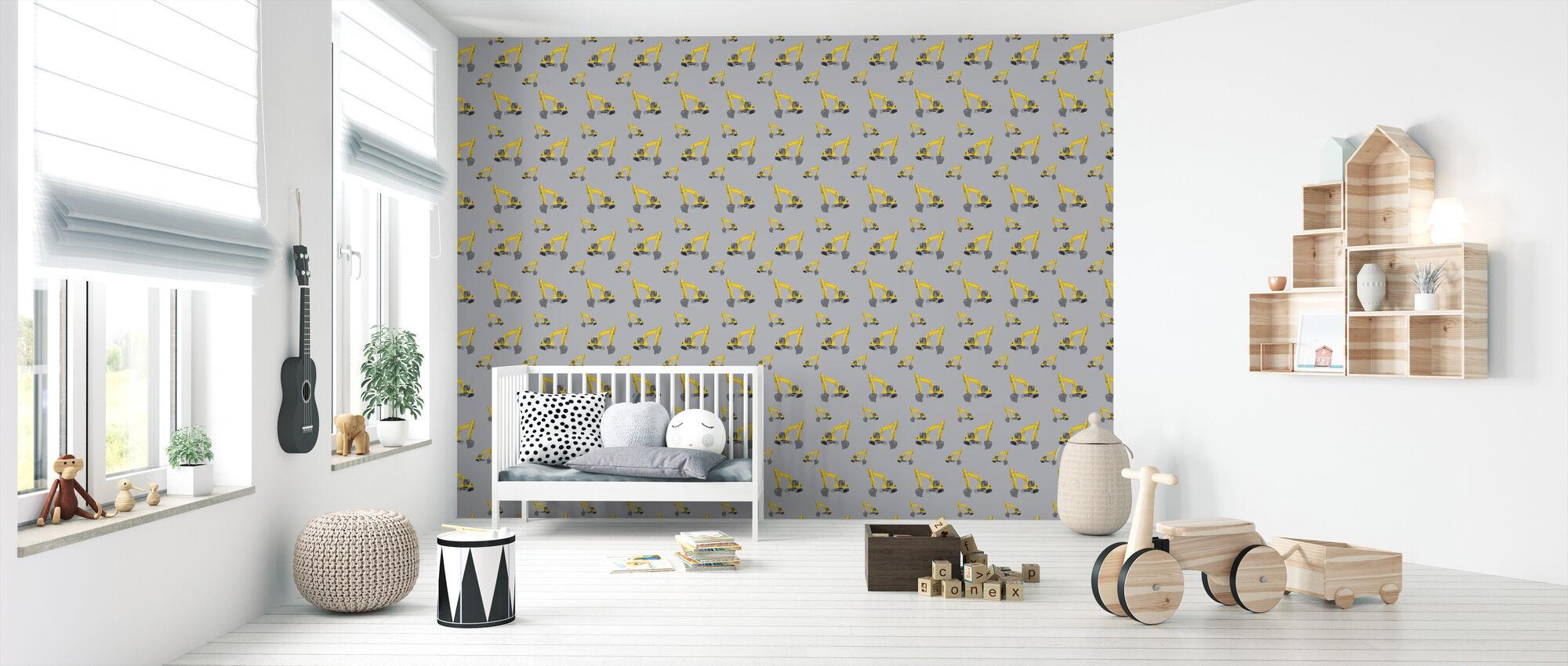 Excavators Grey - Wallpaper - Nursery