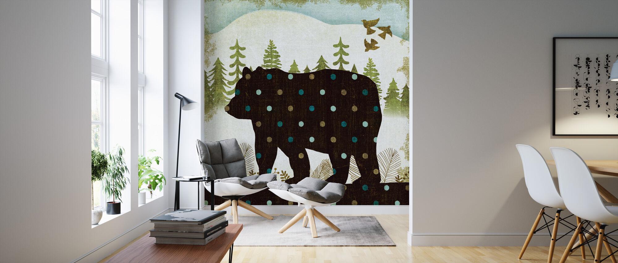 Woodland Dwellers Bear Dots - Wallpaper - Living Room