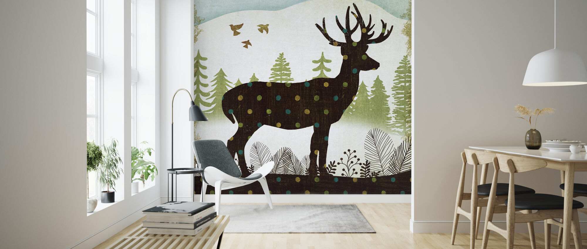 Woodland Dwellers Deer Dots - Wallpaper - Living Room